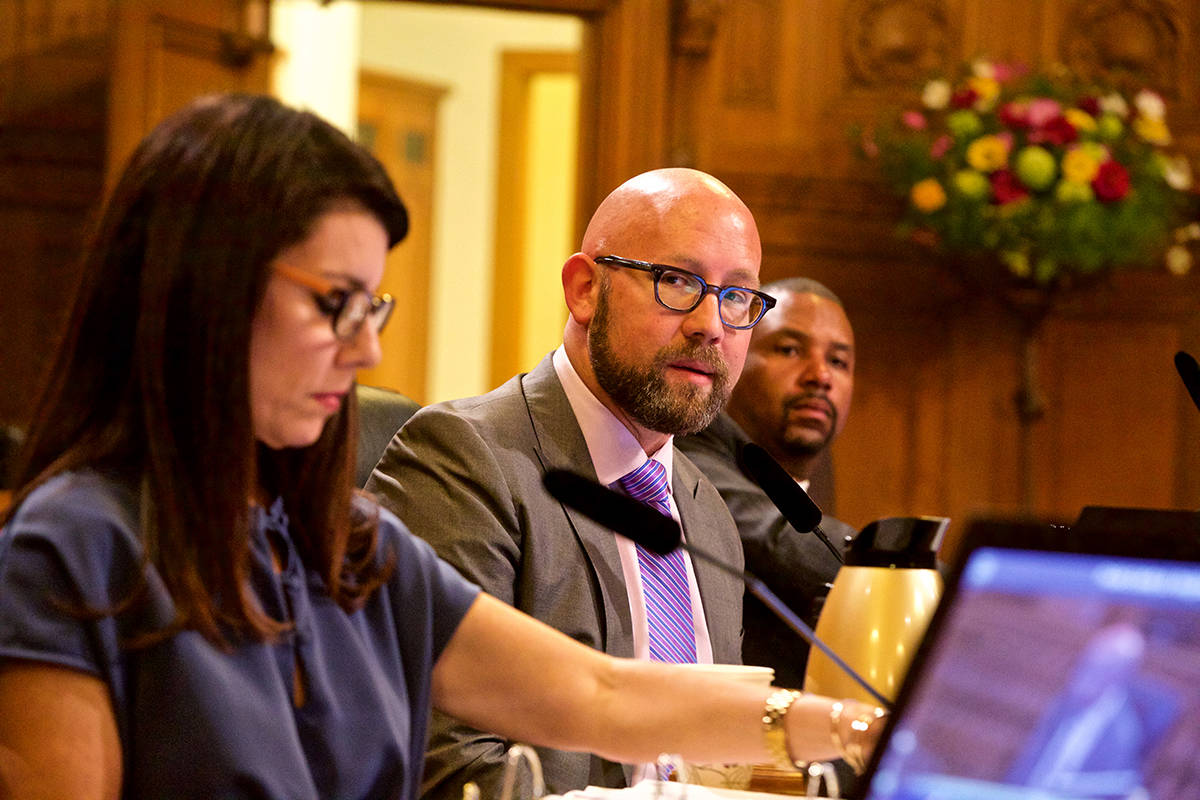 Supervisors Rafael Mandelman and Catherine Stefani called for a hearing on the status of Treatment on Demand at a special meeting of the Board of Supervisors' Public Safety and Neighborhood Services Committee on Friday, Sept. 27, 2019. (Kevin N. Hume/S.F. Examiner)