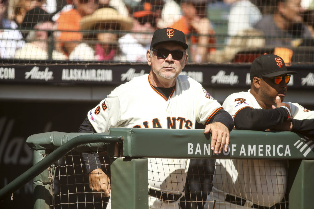 San Francisco Giants manager Bruce Bochy (15) at Oracle Park on September 29, 2019 in San Francisco, California. (Chris Victorio | Special to S.F. Examiner)