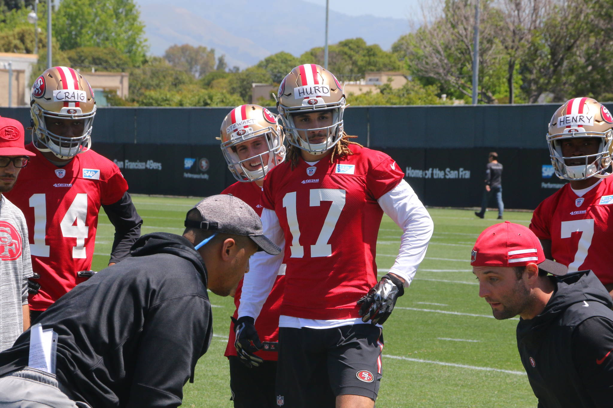 San Francisco 49ers rookie wide receiver Jalen Hurd (17) listens to coaching during a rookie minicamp on May 3, 2019 at the team's facility in Santa Clara, Calif. (Ryan Gorcey / S.F. Examiner)