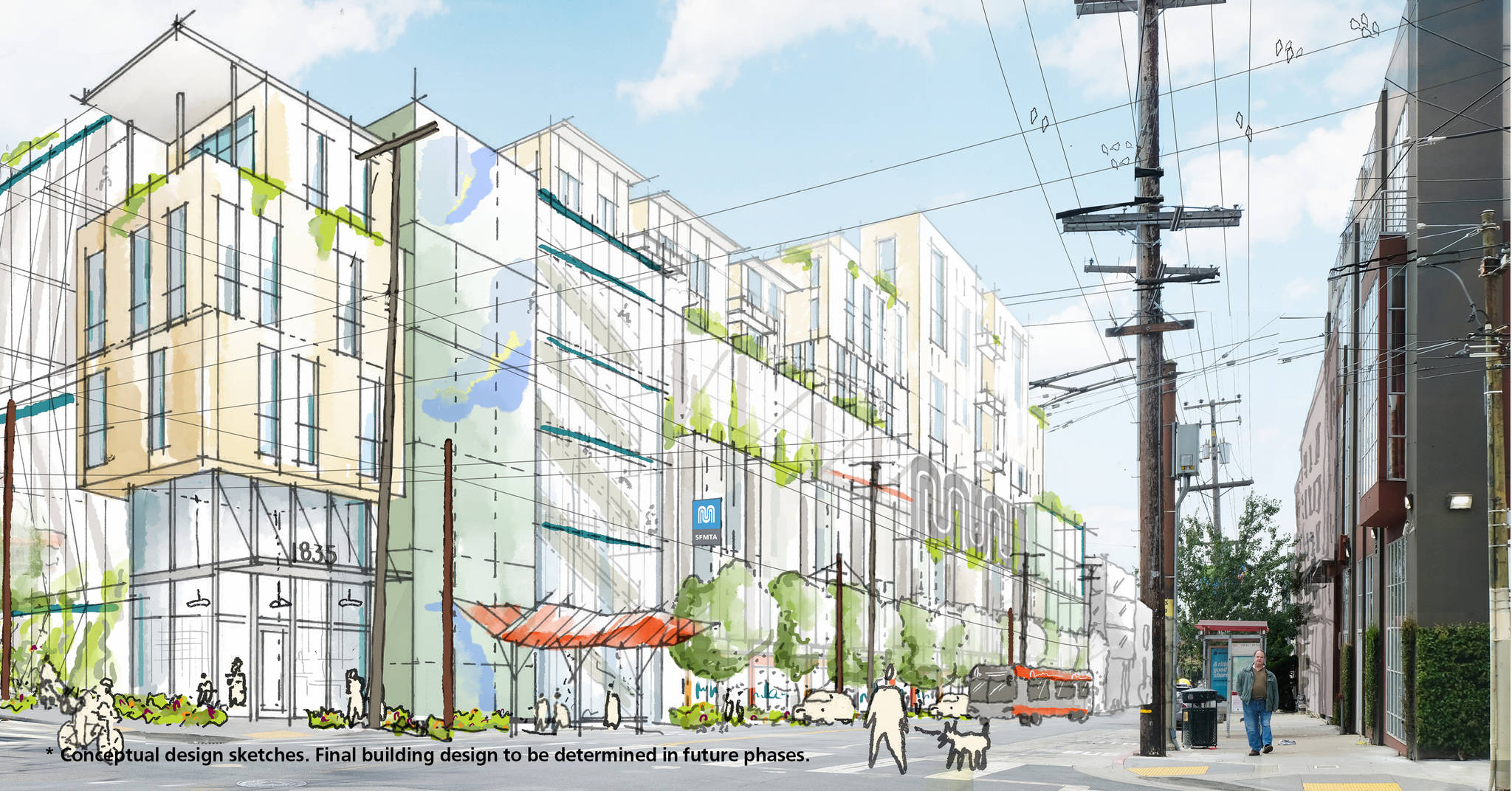 Design plans for a housing project at the Muni Potrero Yard. (Courtesy SFMTA)