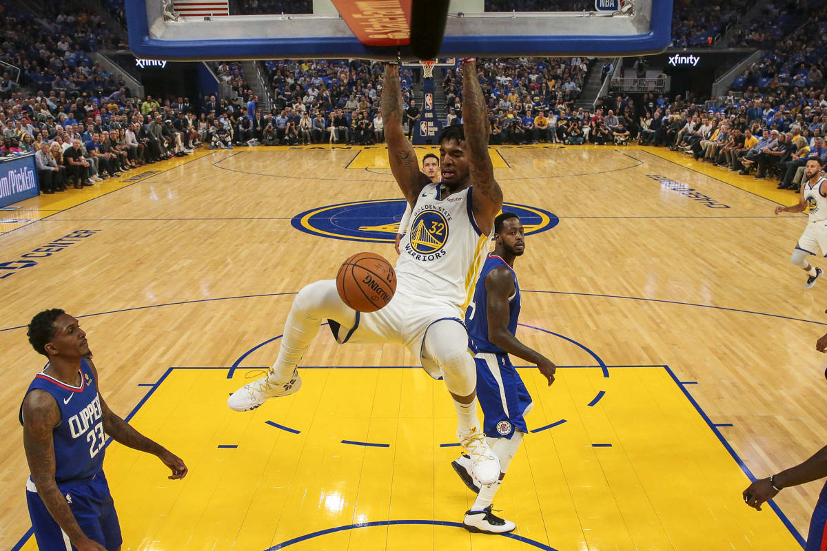 Golden State Warriors forward Marquese Chriss (32) dunks in the 1st quarter against the Los Angeles Clippers at Chase Center on October 24, 2019 in San Francisco, California. (Chris Victorio | Special to the S.F. Examiner)