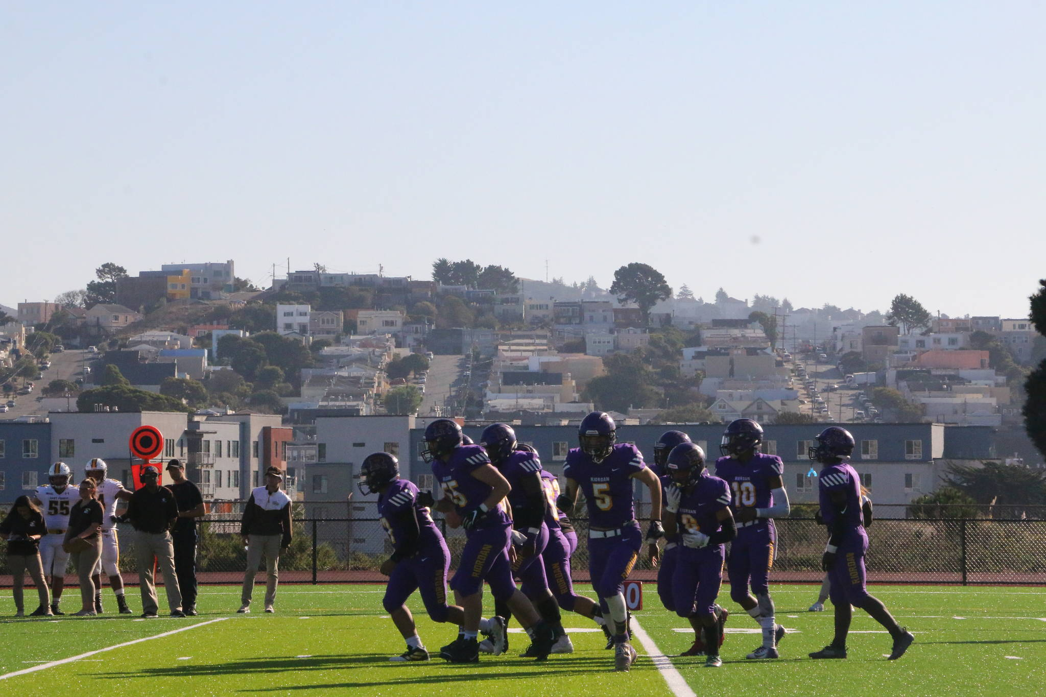 The view from newly-renovated Mayer Family Field on the Archbishop Riordan campus during the first game held there, a 24-7 loss to St. Francis on Nov. 2, 2019. (Ryan Gorcey / S.F. Examiner)