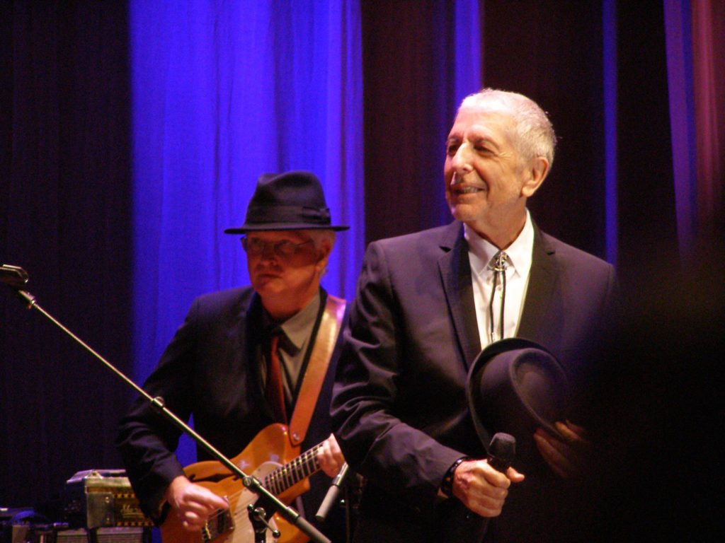 Leonard Cohen on stage with Bob Metzger in Florence on September 1 2010. (Courtesy photo)