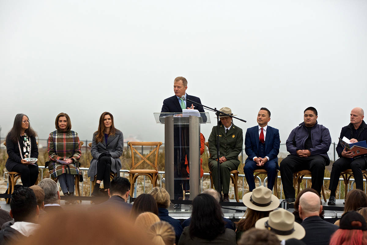 "Bill Grayson, Board Chair of the Presidio Trust, speaks at a ""ground making"" event for the future Presidio Tunnel Tops park on Thursday, Nov. 7, 2019. (Kevin N. Hume/S.F. Examiner)"