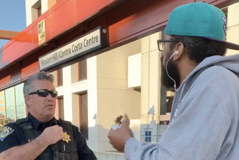 BART took criticism after a video began circulating of a confrontation between officers and a passenger eating a breakfast sandwich at the Pleasant Hill BART station. (Courtesy photo)