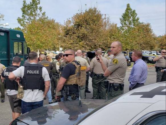 Law enforcement assemble at the scene of a shooting at Saugus High School on Thursday, Nov. 14, 2019. (Courtesy L.A. County Sheriff)