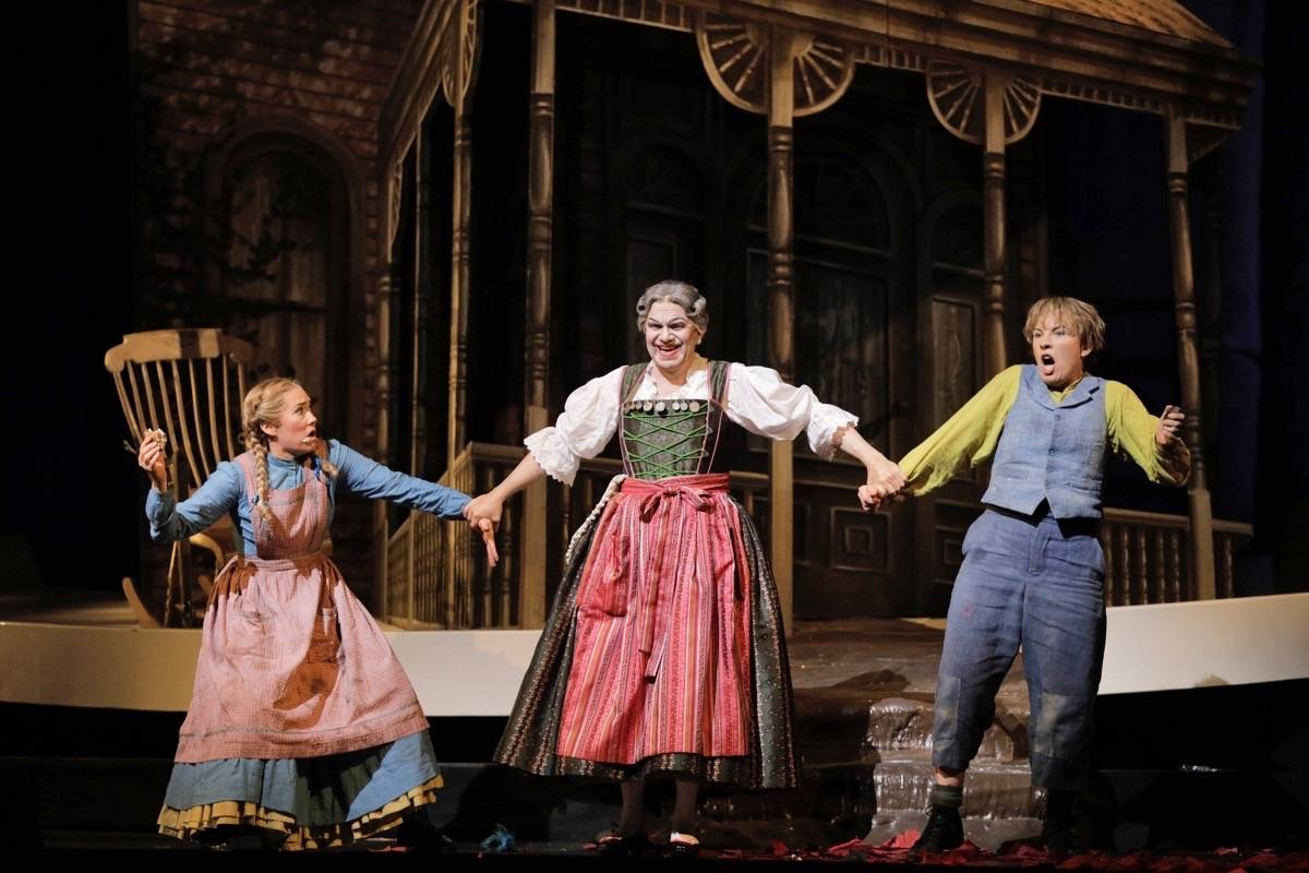 "From left, Heidi Stober as Gretel, Robert Brubaker as the Witch and Sasha Cooke as Hansel appear in San Francisco Opera's ""Hansel and Gretel."" (Courtesy Cory Weaver/San Francisco Opera)"