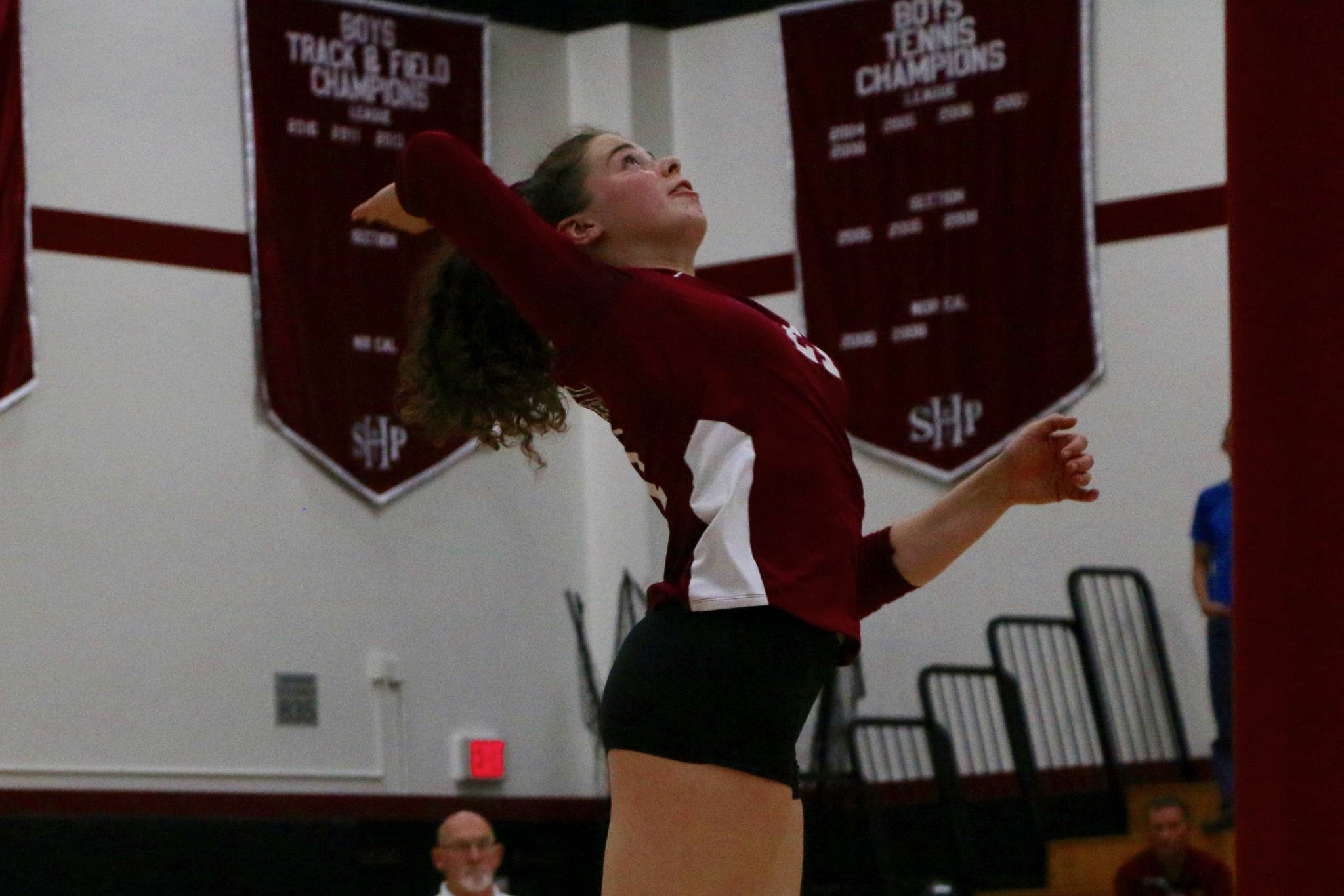Lowell junior middle blocker Kenedi Edmunds goes up for a kill attempt during Lowell's CIF Division III NorCal regional final against Sacred Heart Prep in Atherton, Calif. on Nov. 19, 2019. (Ryan Gorcey / S.F. Examiner)