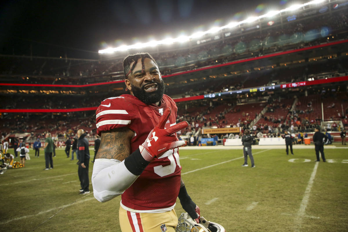 San Francisco 49ers defensive end Damontre Moore (90) celebrates during the post-game after defeating the Green Bay Packers 37-8 at Levi's Stadium on November 24, 2019 in Santa Clara, California. (Chris Victorio | Special to the S.F. Examiner)