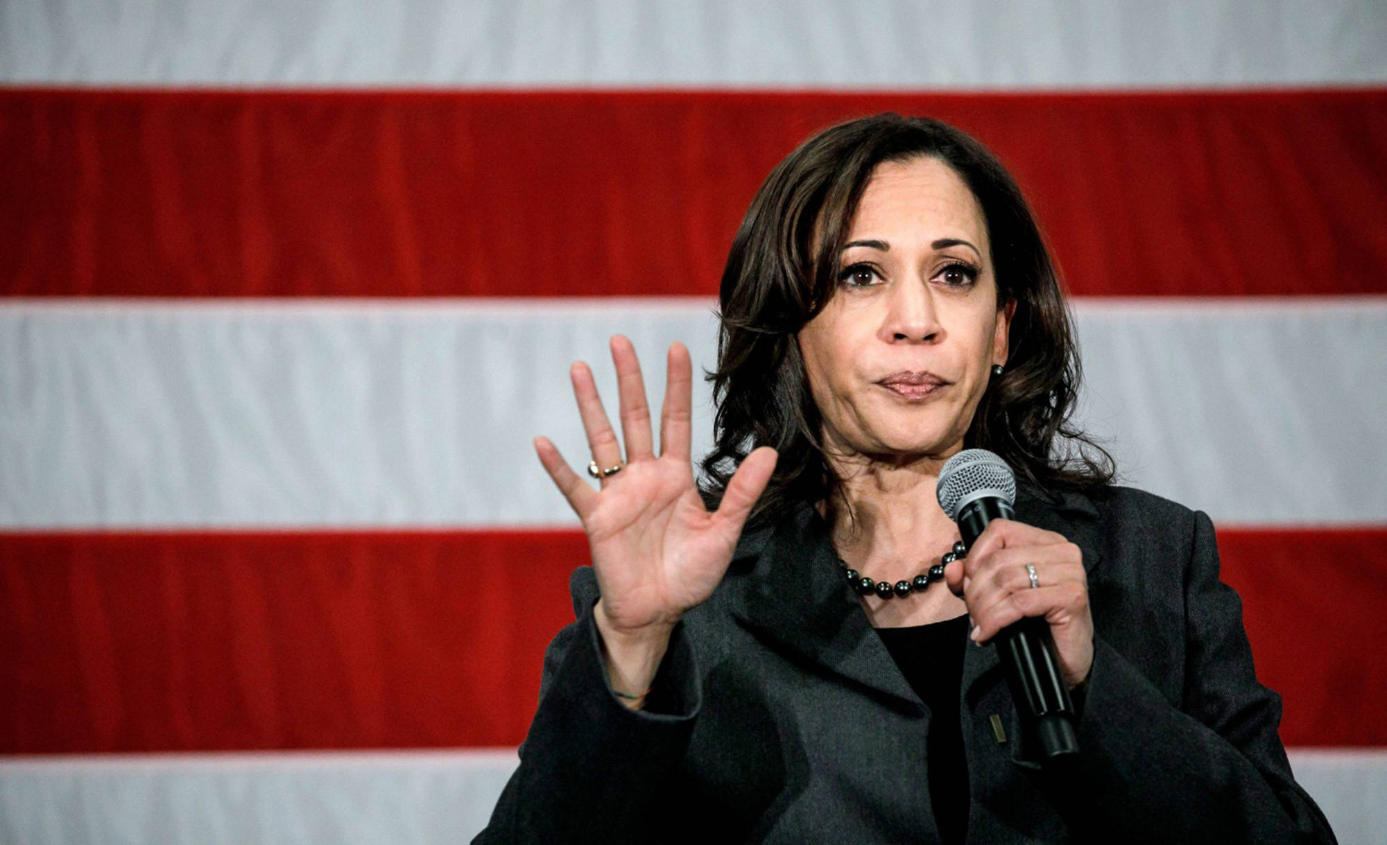 U.S. Sen. Kamala Harris speaks at a campaign rally at the FFA Enrichment Center in Ankeny, Iowa, on Feb. 23. (Marcus Yam/Los Angeles Times/TNS)