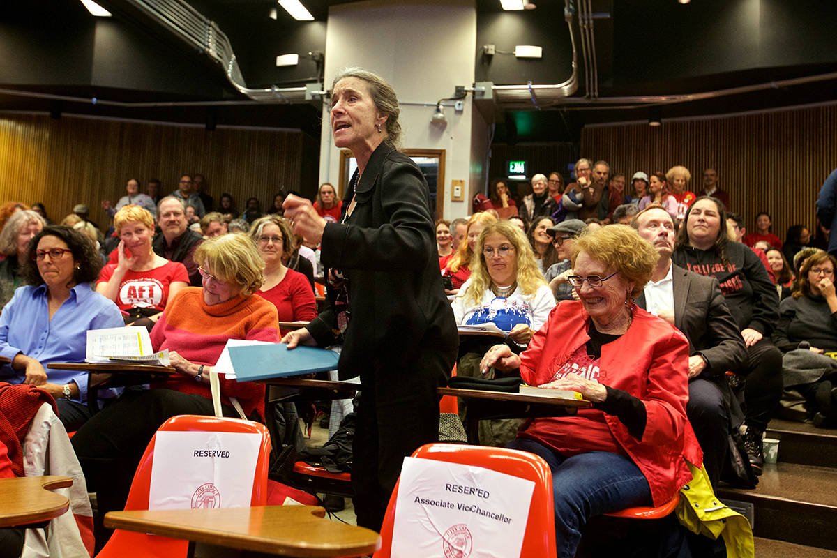 Sherry McAlan, a former English as a Second Language instructor at City College of San Francisco, continues speaking after giving public comment about cuts to classes, particularly those for older adults, during a meeting of the CCSF Board of Trustees on Thursday, Dec. 12, 2019. (Kevin N. Hume/S.F. Examiner)