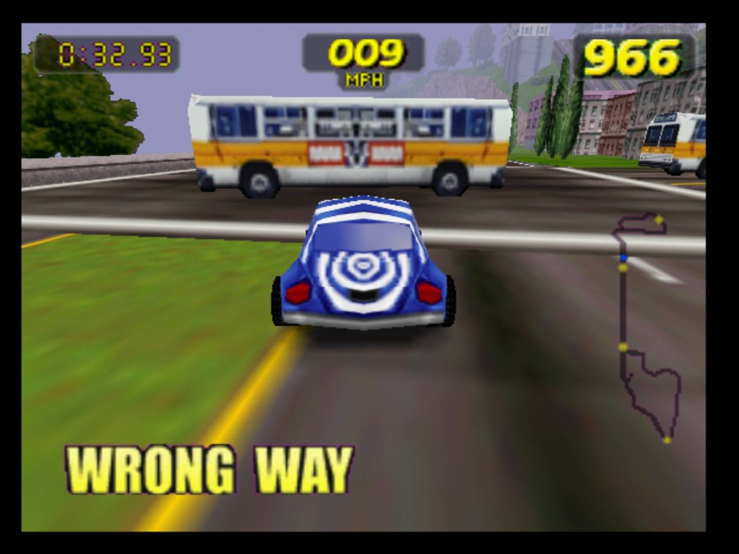 Muni buses make for dangerous obstacles in the 1997 racing video game San Francisco Rush: Extreme Racing. (Courtesy/Atari)