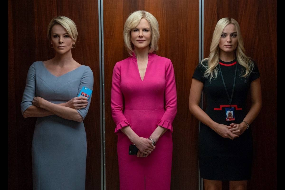 """From left, Charlize Theron, Nicole Kidman and Margot Robbie appear in """"Bombshell."""" (Courtesy Hilary Bronwyn Gayle SMPSP)"""