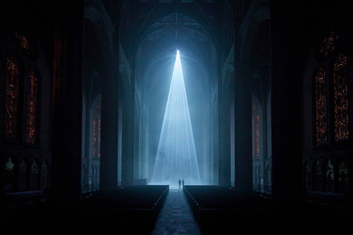 """""""Grace Light,"""" an installation by George Zisiadis with an original score by Gabriel Gold, is at Grace Cathedral. (Courtesy Henrik Kam)"""