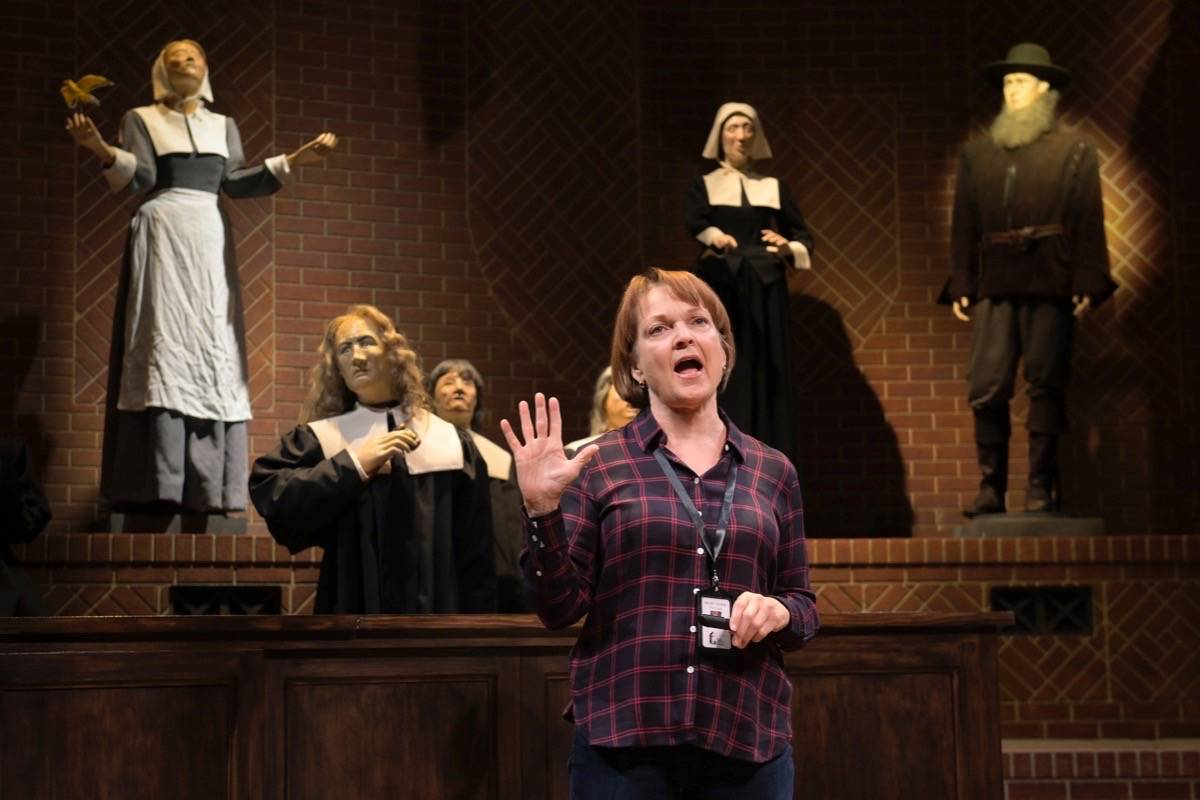 "Pamela Reed, center, plays the title character in Berkeley Repertory Theatre's premiere of Sarah Ruhl's ""Becky Nurse of Salem."" (Courtesy Kevin Berne/Berkeley Repertory Theatre)"