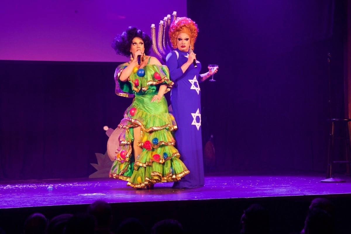 "BenDeLaCreme, left, and Jinkx Monsoon being their ""all new two-queen holiday extravaganza"" to the Victoria Theatre on Dec. 28. (Courtesy Matt Baume)"