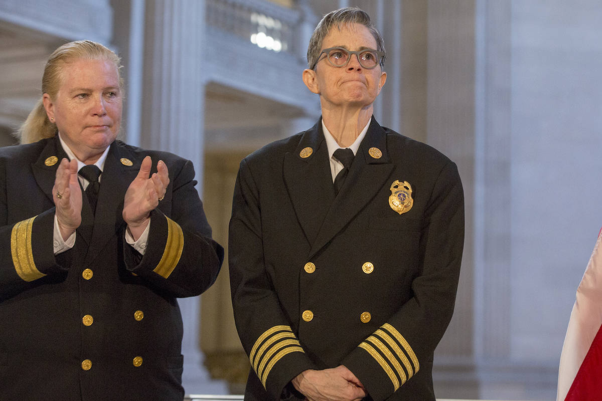 Outgoing Fire Chief Joanne Hayes-White applauds as Deputy Chief Jeanine Nicholson is appointed as the new Chief of the San Francisco Fire Department by Mayor London Breed at City Hall on Wednesday, March 13, 2019. (Kevin N. Hume/S.F. Examiner)