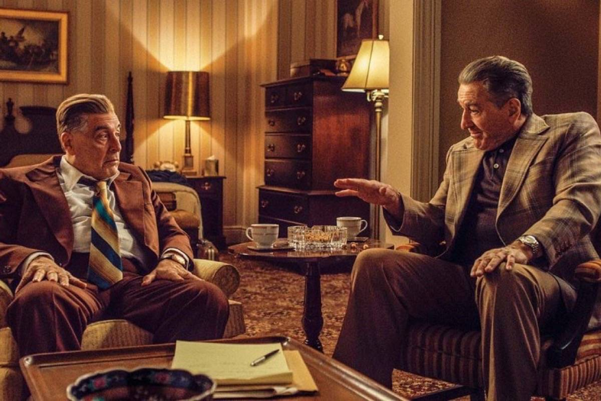 "Al Pacino, left, plays Jimmy Hoffa, and Robert DeNiro plays the title character in ""The Irishman."" (Courtesy Netflix)"