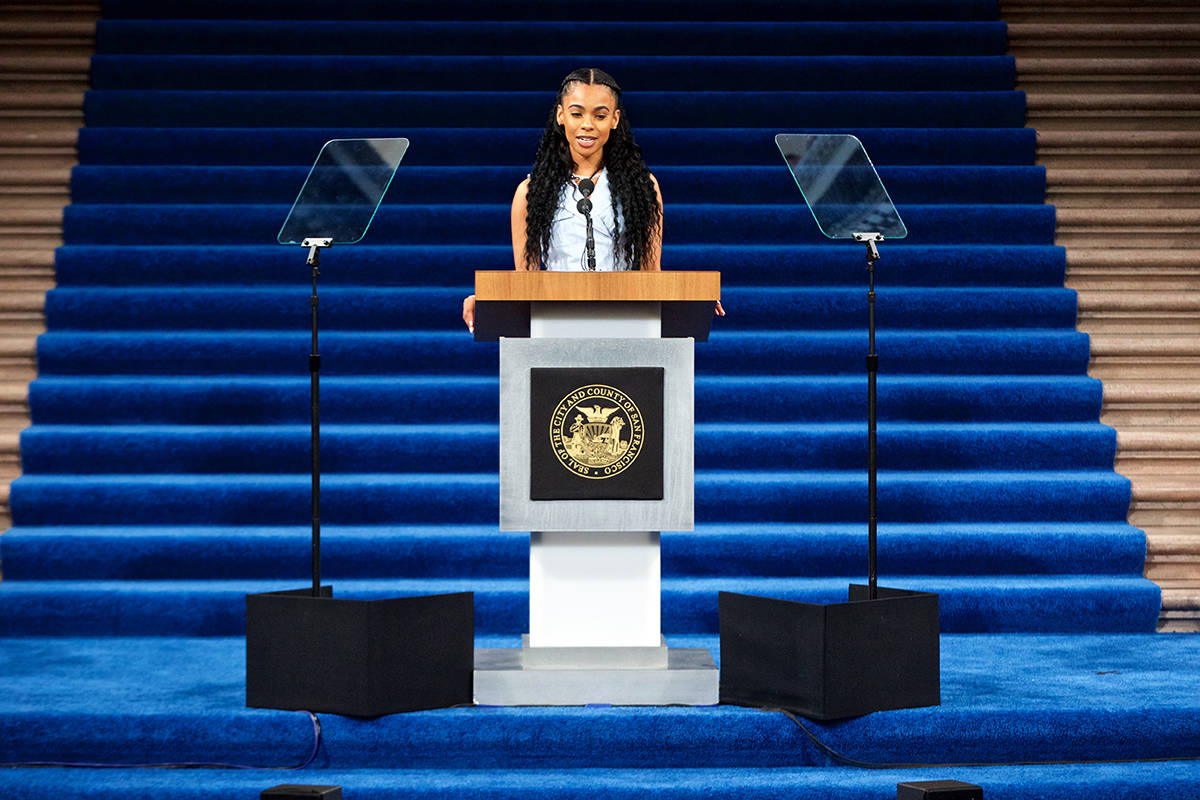 Kayla Smith, goddaughter of Mayor London Breed, speaks in her role as Mistress of Ceremonies before Breed takes the oath of office at City Hall on Wednesday, Jan. 8, 2020. (Kevin N. Hume/S.F. Examiner)