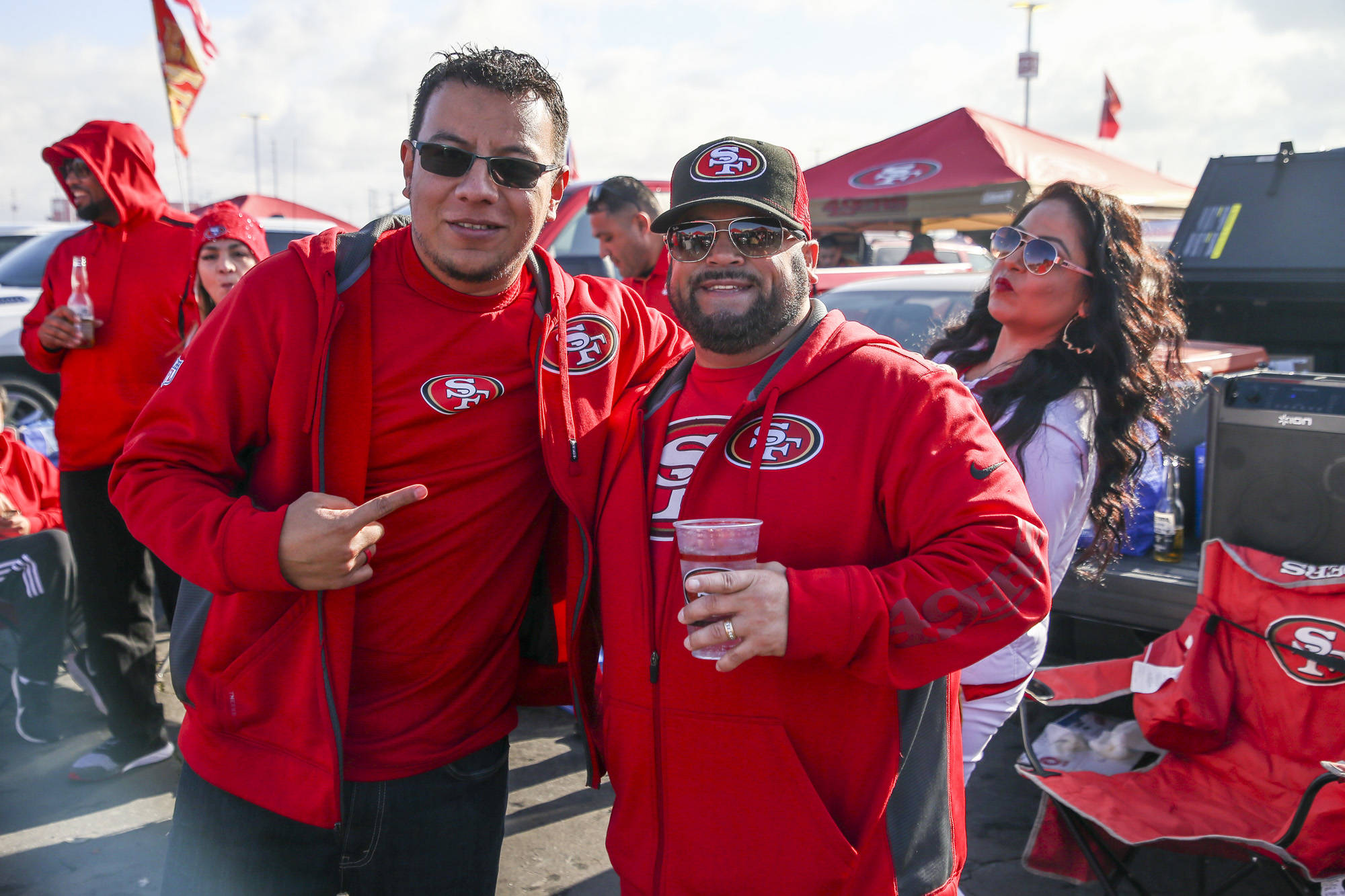 Fans arrive early to Levi's Stadium and tailgate before the Minnesota Vikings play against the San Francisco 49ers in the NFC Divisional Playoff Game on January 11, 2020 in Santa Clara, California. (Chris Victorio   Special to the S.F. Examiner)