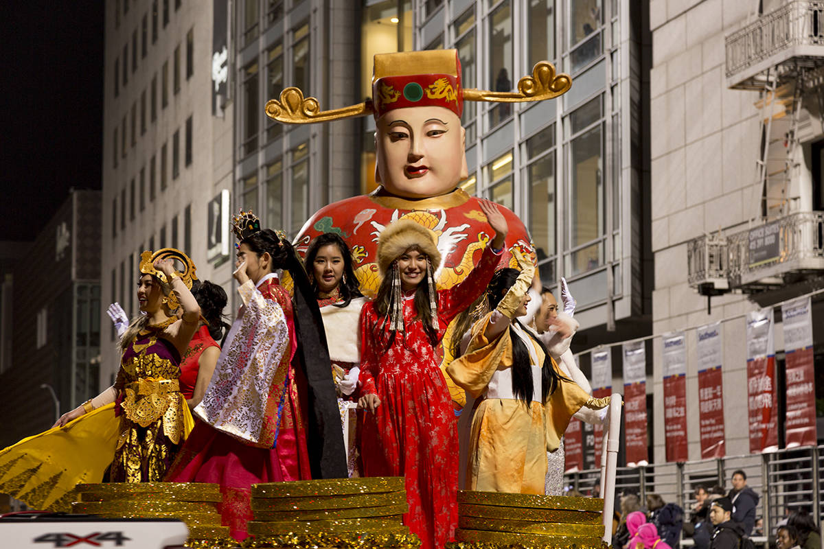 A float goes by at the Chinese New Year Parade as the Year of the Rat is celebrated in downtown San Francisco on Saturday, Feb. 8, 2020. (Amanda Peterson/Special to S.F. Examiner)