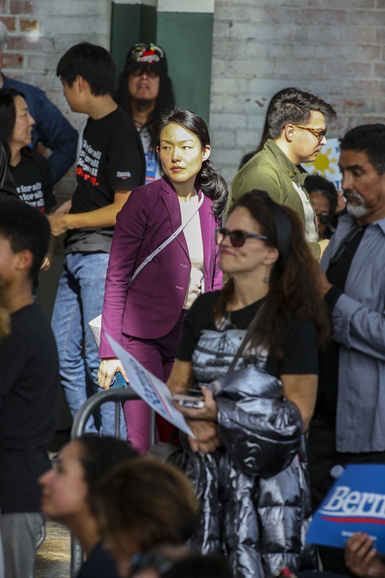 Former San Francisco Supervisor Jane Kim, who now holds a leadership role in the local Sanders campaign, was among those attending Monday's rally. (Chris Victorio/ Special to S.F. Examiner)