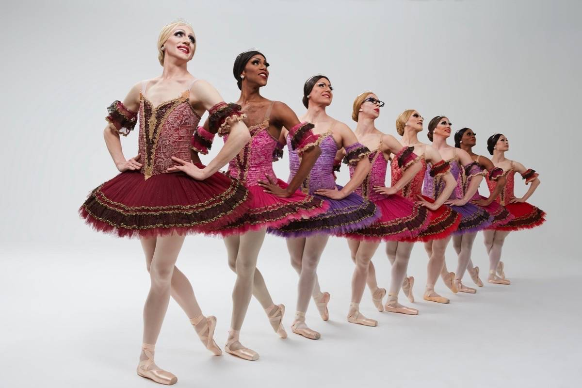 Joshua Thake, far left, performs with Les Ballets Trockadero de Monte Carlo. (Courtesy Zoran Jelenic)