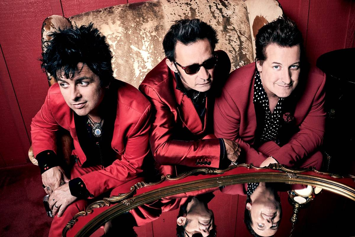 "Green Day, — from left, Billie Joe Armstrong, Mike Dirnt and Tre Cool — released the album ""Father of All…"" in February. (Courtesy Pamela Littky)"