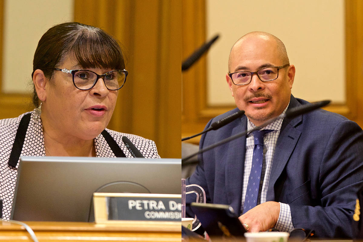 Police Commission members Petra DeJesus (left) and John Hamasaki (right) have called for the Police Commission to resume meeting. (S.F. Examiner file photos)