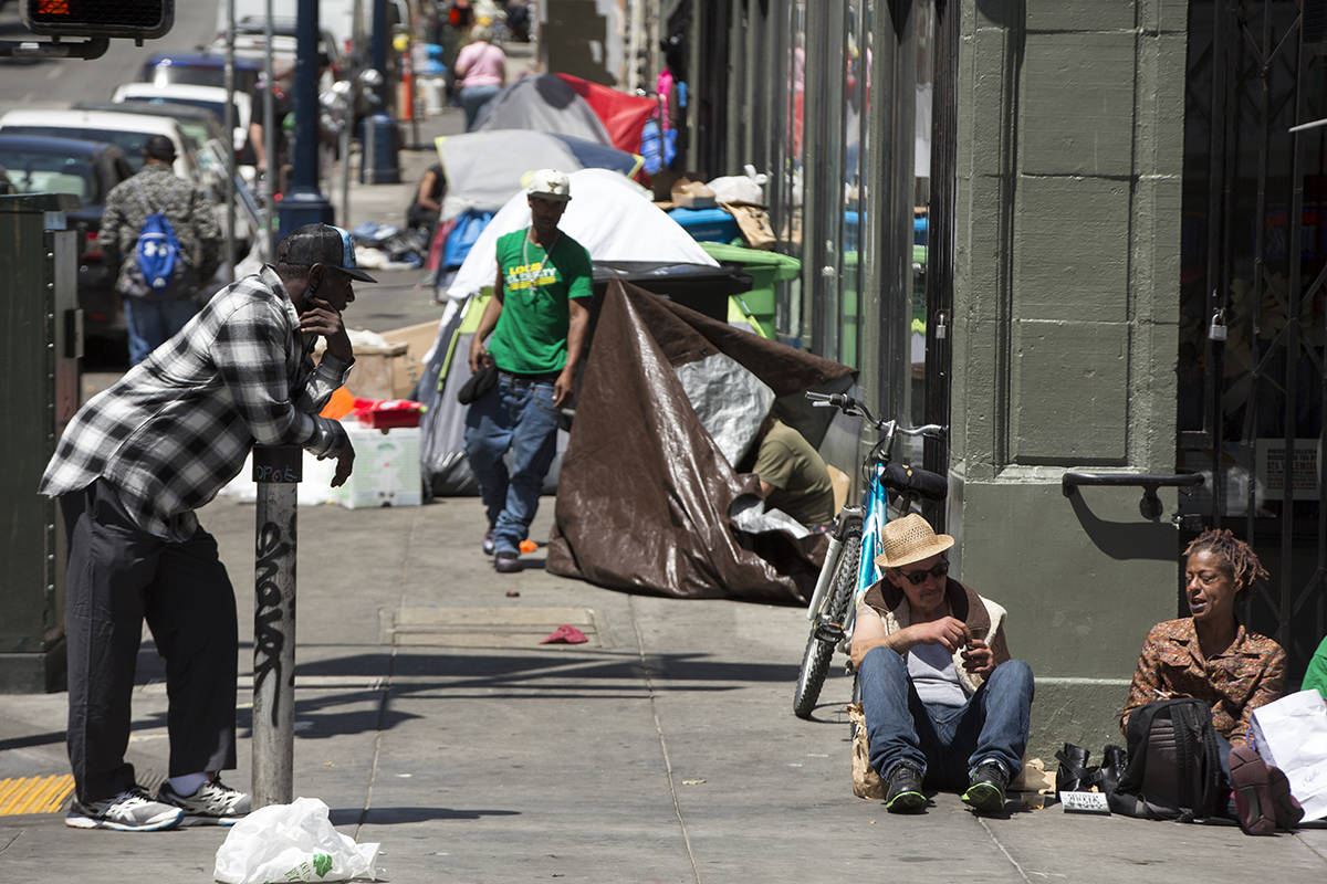 Tents line the sidewalk along Leavenworth Street in the Tenderloin on Wednesday, May 6, 2020. (Kevin N. Hume/S.F. Examiner)