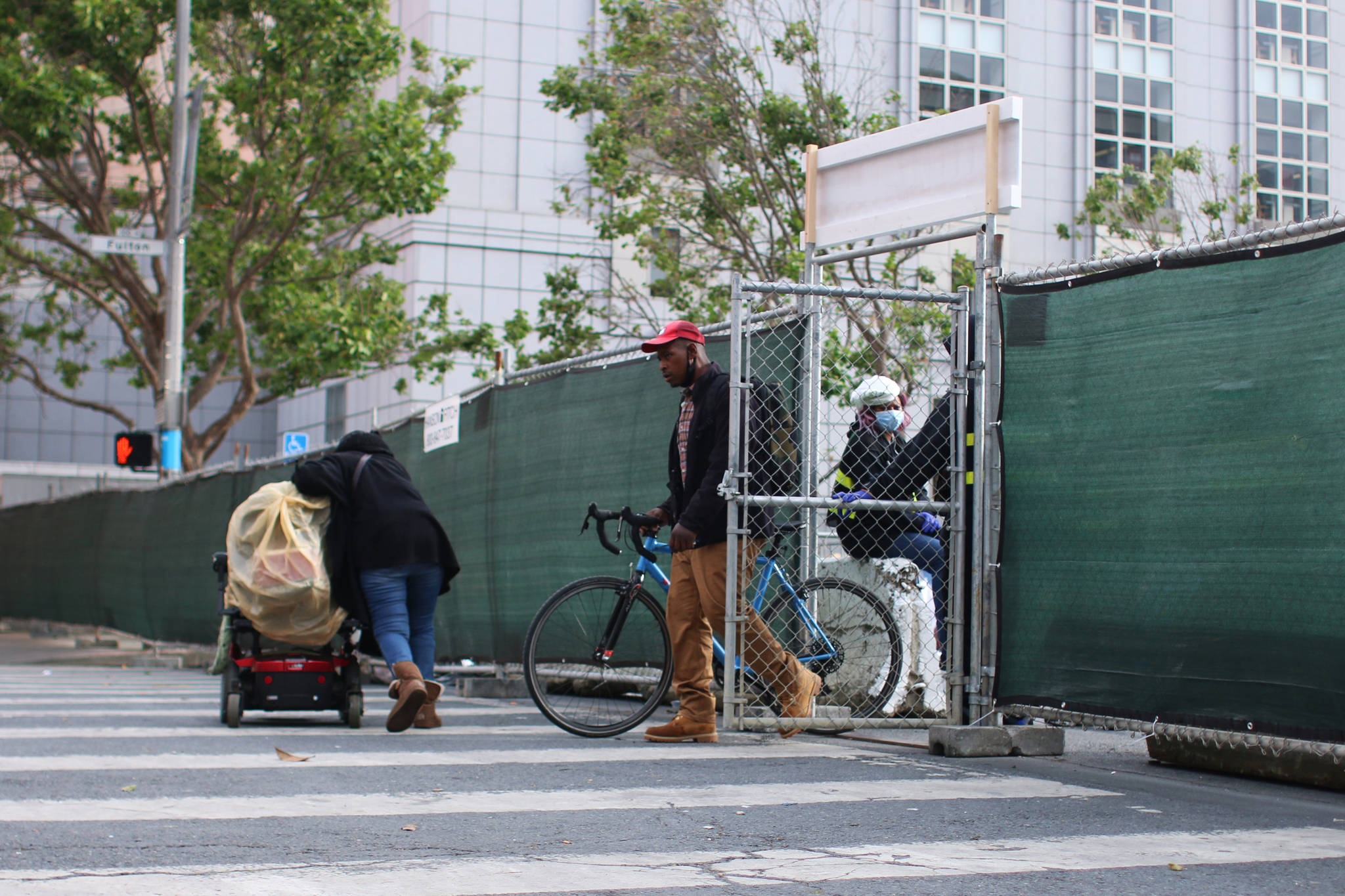 The camping site is surrounded by a chain-link fence and only those staying there are allowed inside. (Corey Browning/Special to the S.F. Examiner)