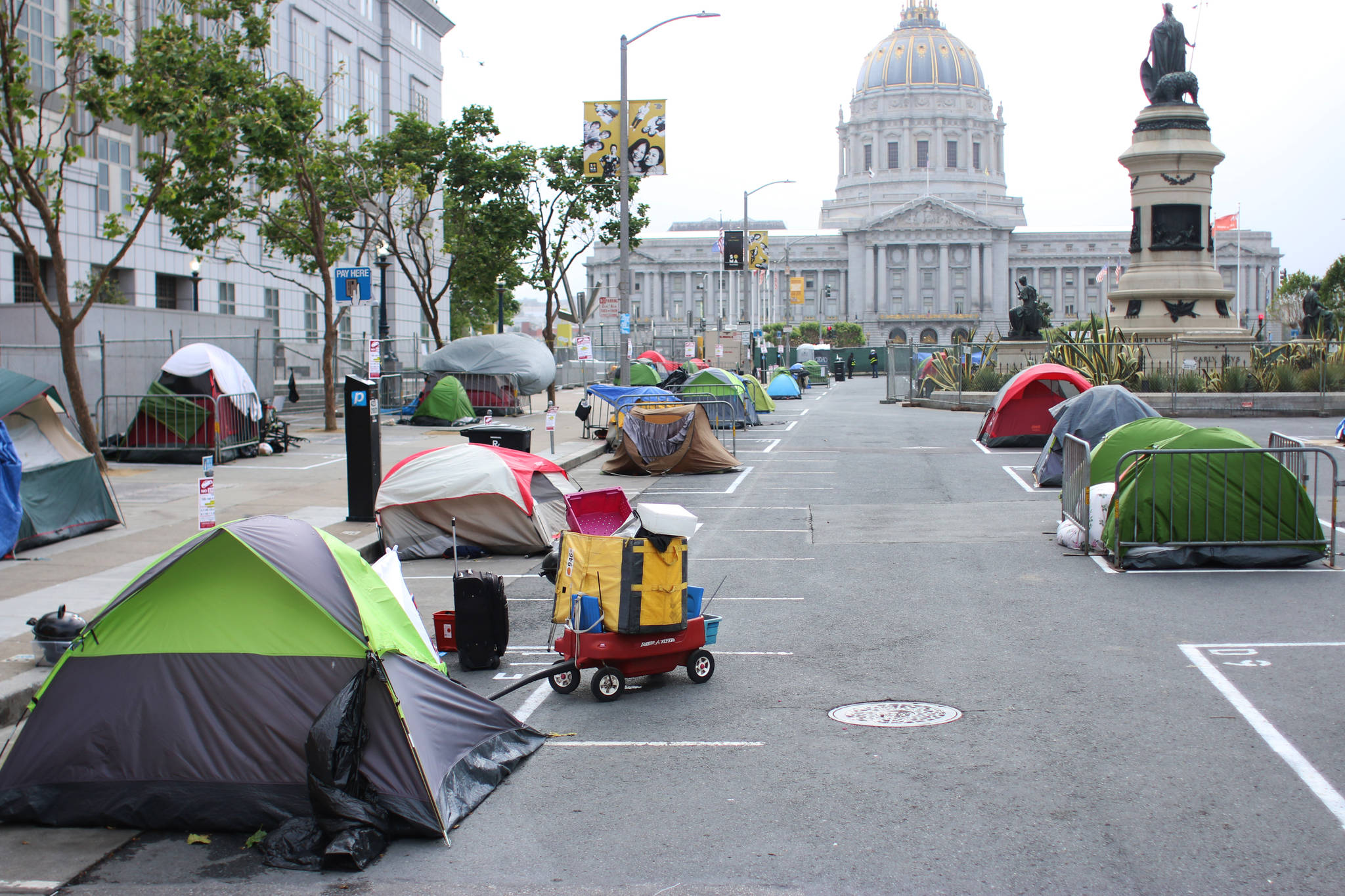 A temporary city-sanctioned camping site with space for around 50 tents opened up at the Civic Center this week. (Corey Browning/Special to the S.F. Examiner)
