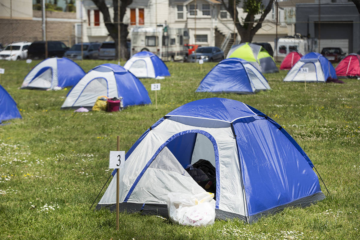 Tents were spaced apart for social distancing at an encampment site for the homeless set up by advocates in the Bayview District on May 1; the site has since been dismantled. (Kevin N. Hume/S.F. Examiner)