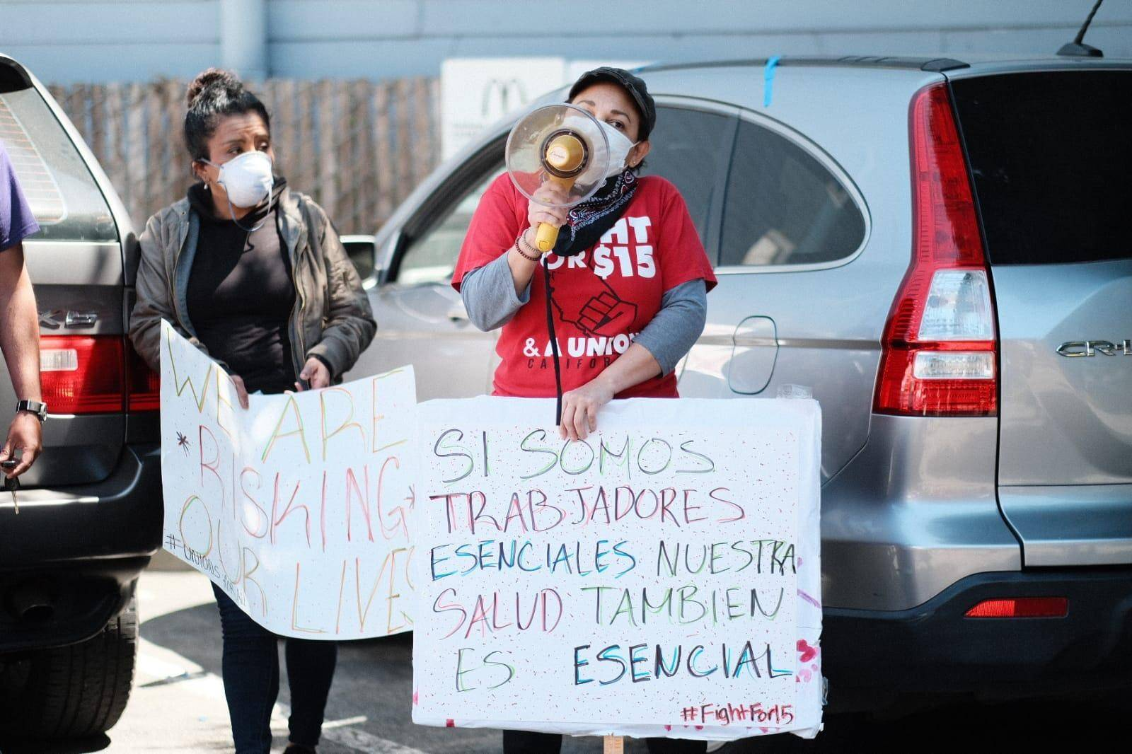 McDonald's workers call for personal protective equipment at a protest outside the Fillmore location on April 30. (Photo courtesy Eric Rudd/Fight for $15)