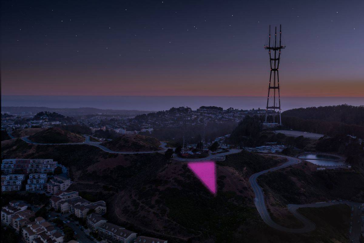 Illuminate has issued a rendering of how the Pink Triangle will be a beacon at night this year. (Courtesy Christoper Michel & Illuminate)