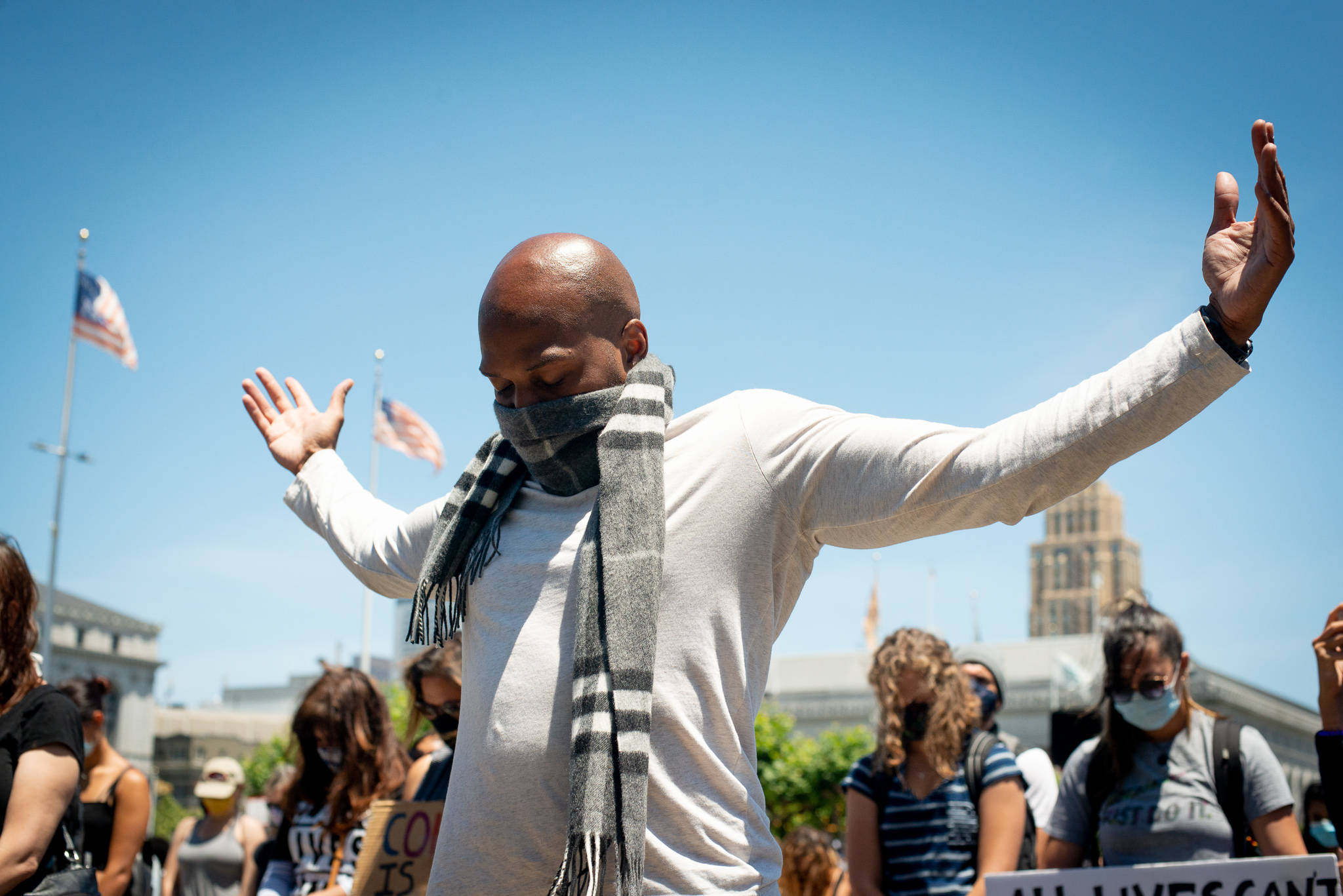 Juneteenth protest at San Francisco City Hall on June 19, 2020. (Nicholas Chan/Special to the S.F. Examiner)
