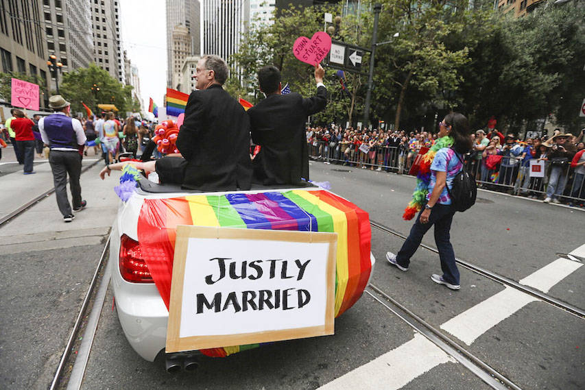 In 2015, parade participants and spectators celebrated the U.S. Supreme Court decision giving same-sex couples the right to wed. (Natasha Dangond/Special to S.F. Examiner)
