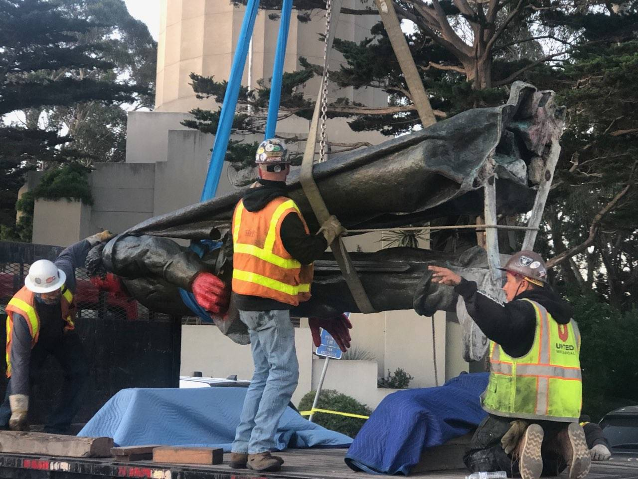 City work crews removed a statue of Christopher Columbus from its site near Coit Tower early Thursday June 18, 2020 after learning that a protest was planned targeting the statue. (Courtesy photo)