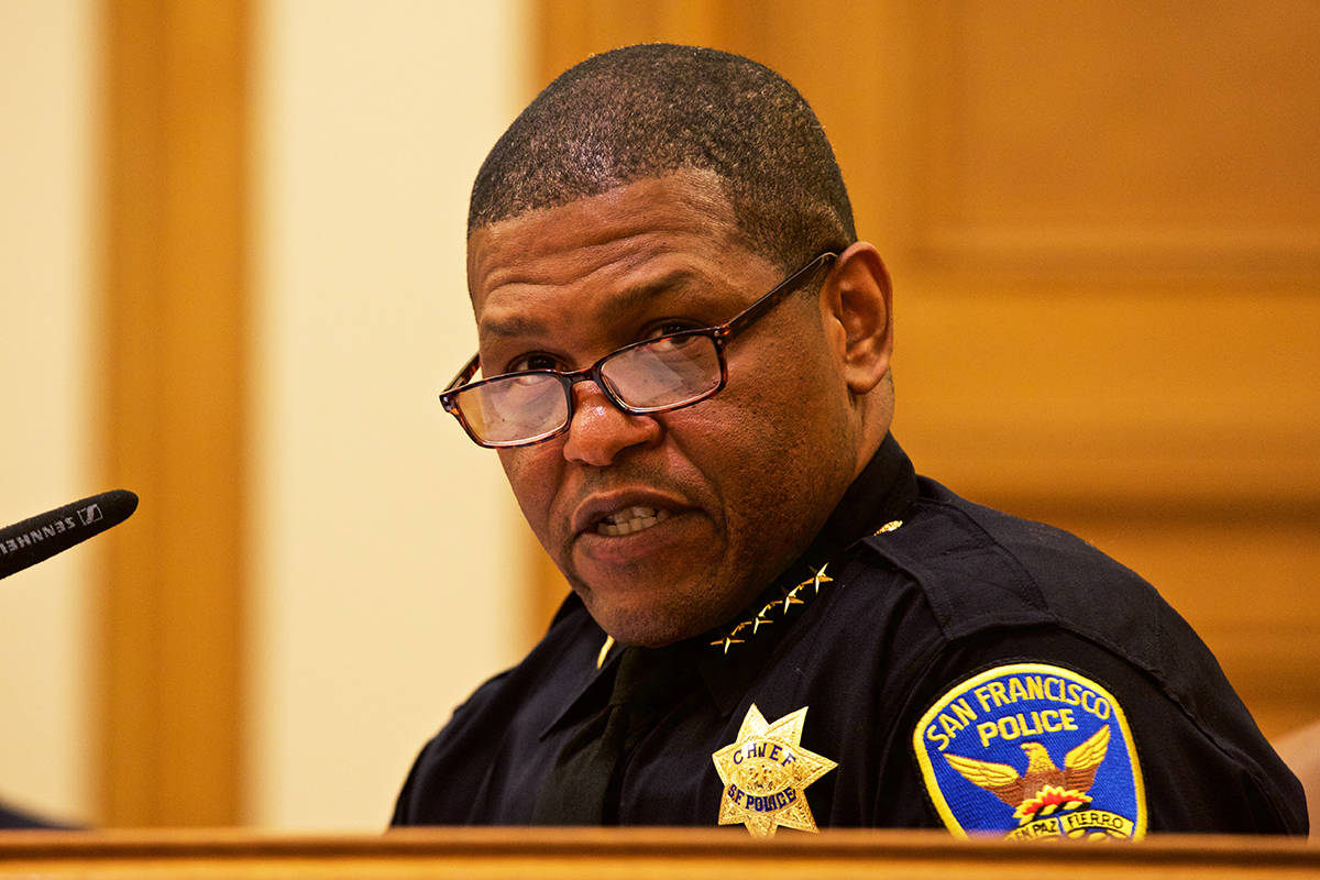 "San Francisco Police Chief Bill Scott said a change in the police department's use of force policy is intended to draw a ""clear bright line"" so that officers know restraining a person by placing a knee on their neck is not allowed. (Kevin N. Hume/S.F. Examiner)"