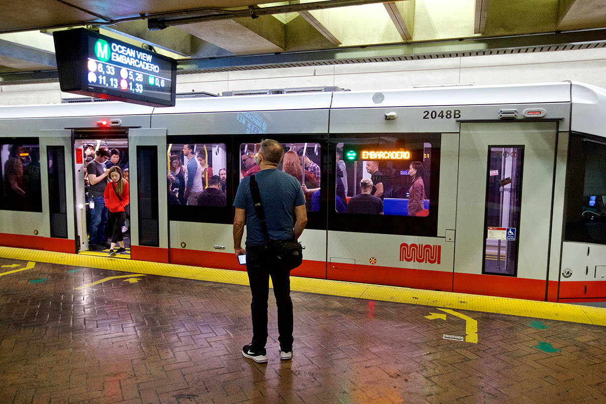 Transit officials are working on plans including social distancing measures to ensure safety on Muni rail cars when the system reopens next month. (Kevin N. Hume/S.F. Examiner)