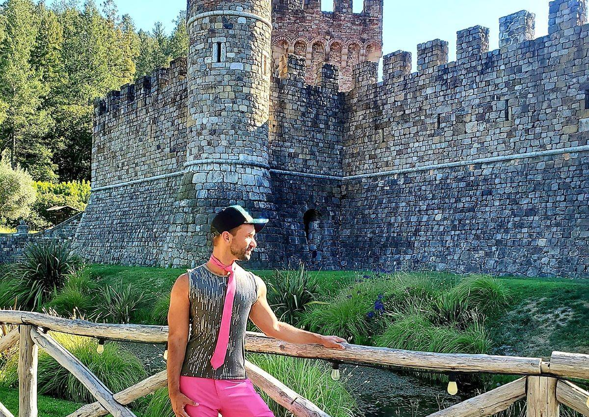 "Saul contemplates a ""Medieval Times"" show during his visit to the picturesque winery Castello di Amorosa in Calistoga. (Courtesy photo)"