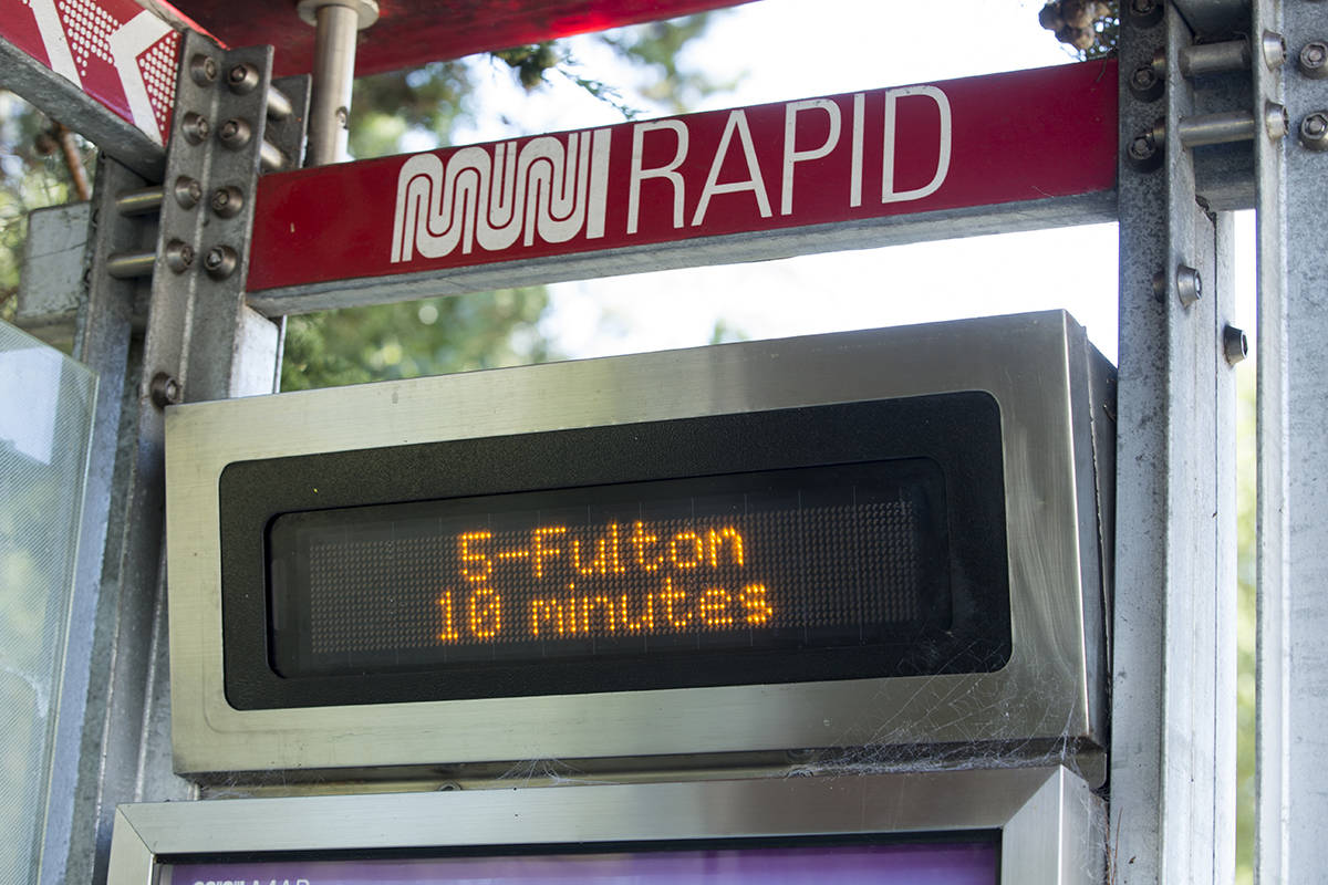 The San Francisco Municipal Transportation Agency plans to replace arrival times signs with larger LED displays that include dynamic maps, real-time vehicle locations, nearby routes and relevant announcements in multiple languages. (Kevin N. Hume/S.F. Examiner)