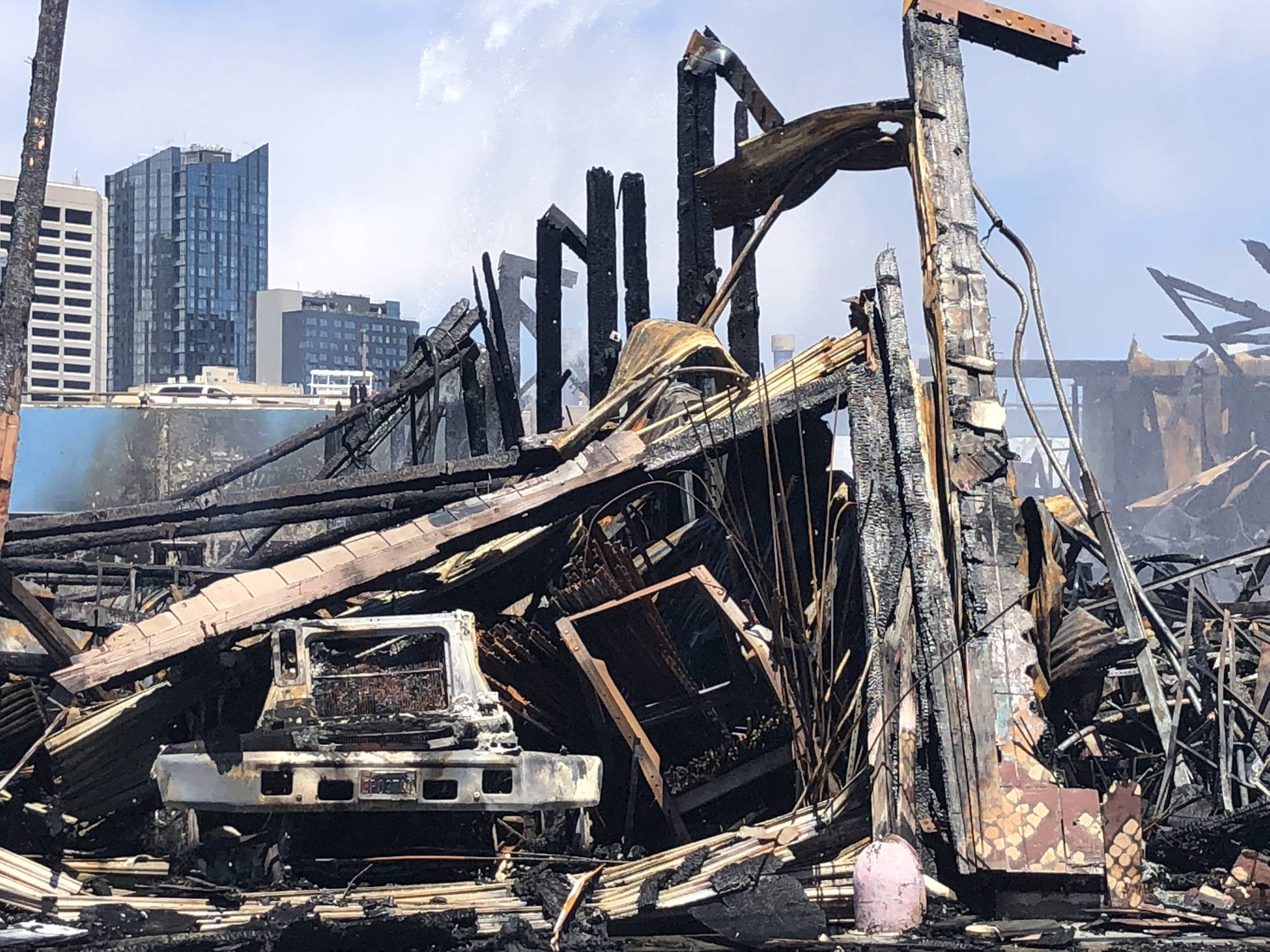 Business, property owners pick through the wreckage after five-alarm fire