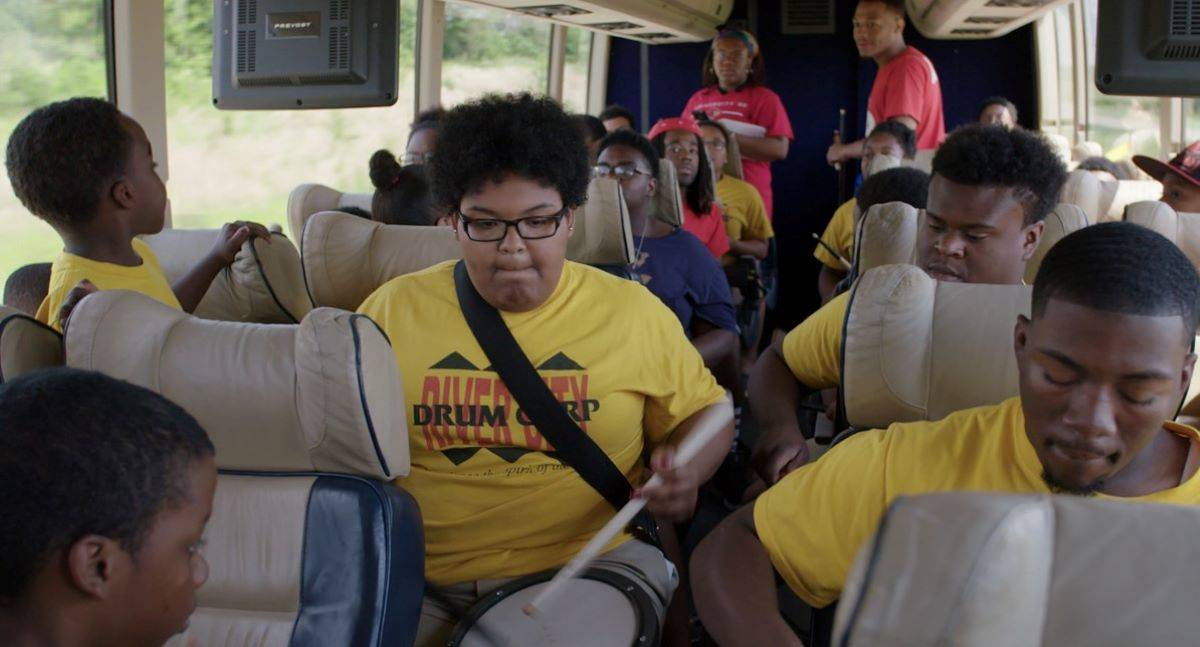 "Members of Louisville's River City Drum Corps go to an out-of-town competition in the movie ""River City Drumbeat."" (Courtesy Juan Castañeda/Owsley Brown Presents)"