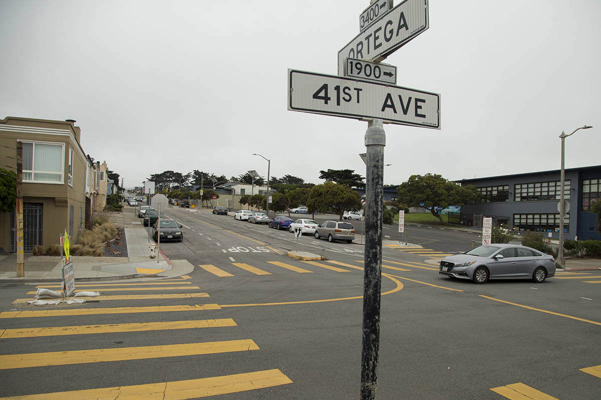"""The """"Slow Streets"""" closure on 41st Avenue in the Sunset District was one of the first in The City due to the work of residents who had already lobbied to block vehicle traffic. (Kevin N. Hume/S.F. Examiner)"""