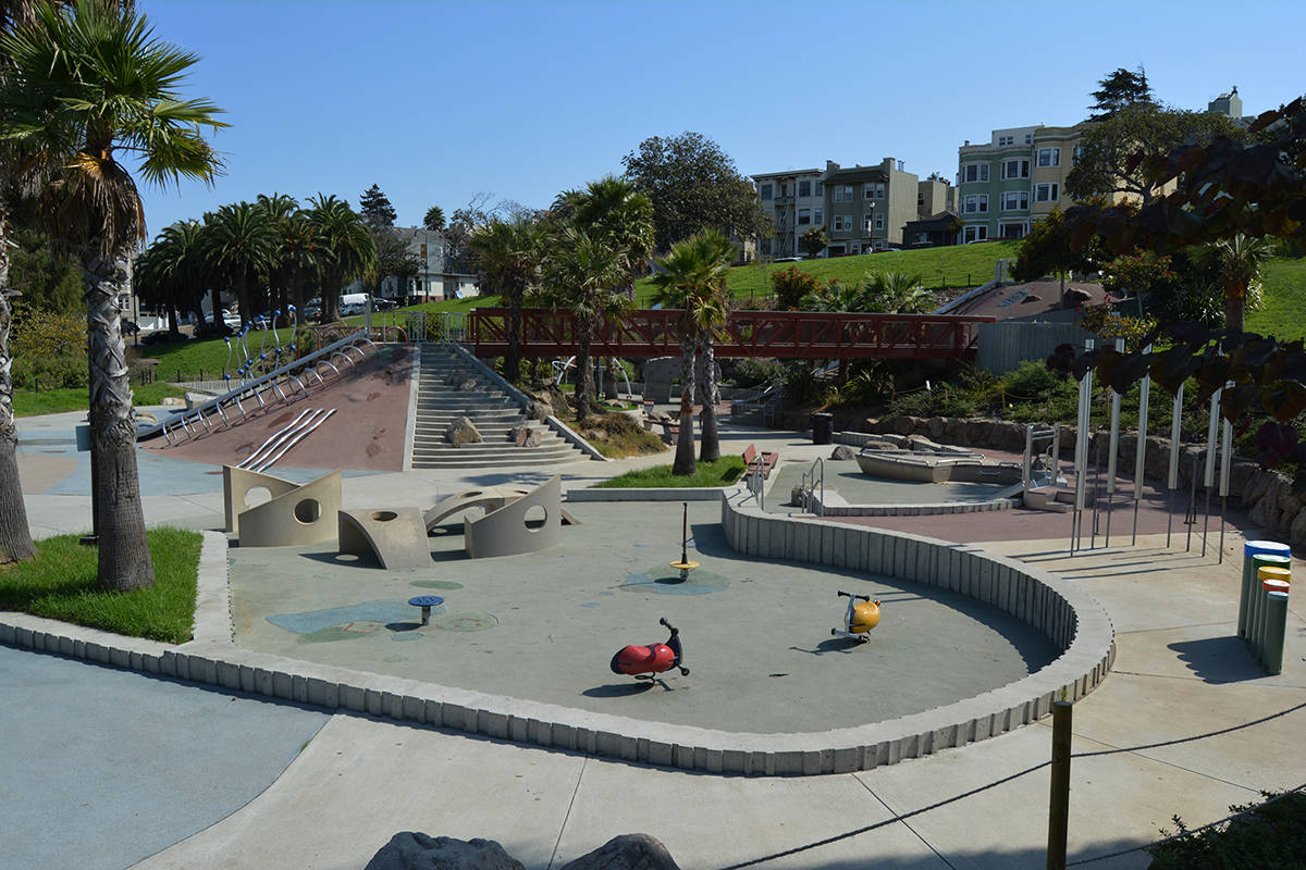 Many San Francisco residents – including parents whose kids are spending a lot of time in front of screens — are eagerly anticipating the reopening of The City's playgrounds, including Helen Diller playground. (Samantha Laurey/Special to S.F Examiner)