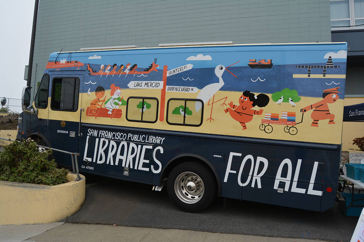 A SF Public Library bookmobile stands at Jose Ortega Elementary School as part of SF PL To Go-Go, a partnership with the SF Unified School District. (Samantha Laurey/Special to S.F Examiner)