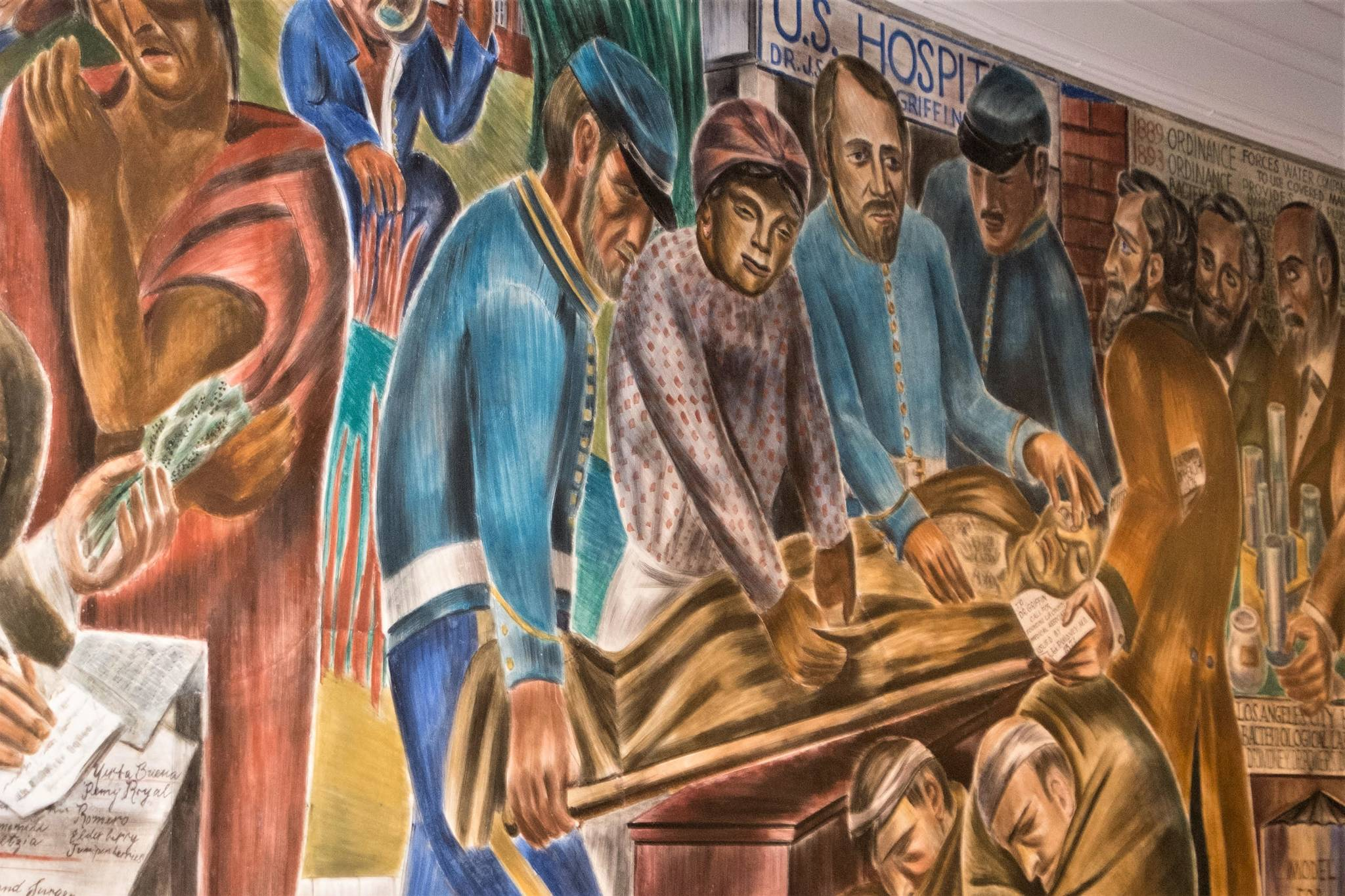 Murals painted at UCSF in the late 1930s by artist Bernard Zakheim depict scenes from California's medical history, from the Spanish era into the early twentieth century. Zakheim, a Diego Rivera-collaborator, was regarded as one of the finest muralists of his day. The most celebrated panel features Biddy Mason, a Georgia slave turned California philanthropist and entrepreneur. (Photo courtesy Richard Rothman)