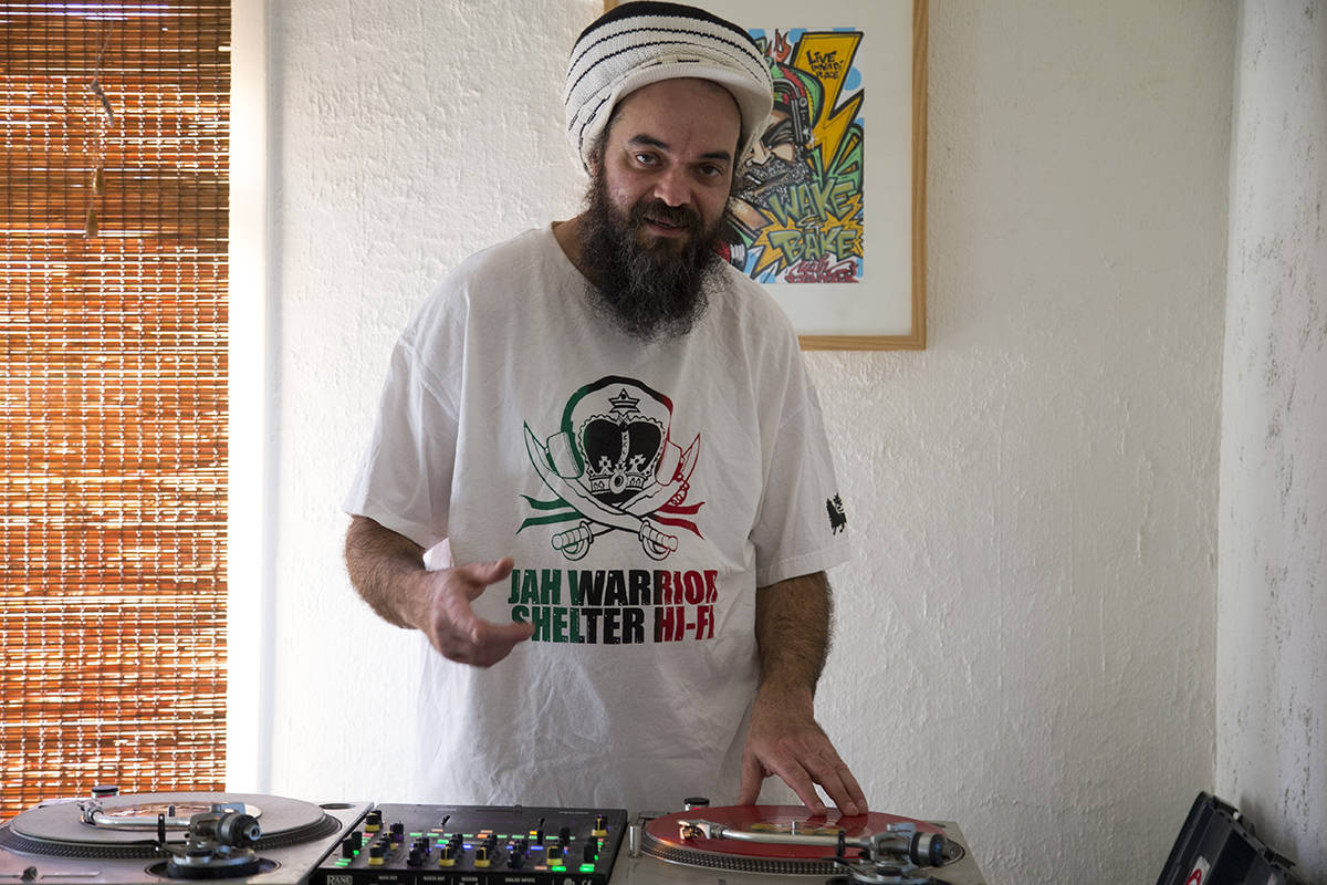 San Francisco DJ and producer Jah Yzer livestreams most mornings from his home. (Kevin N. Hume/S.F. Examiner)