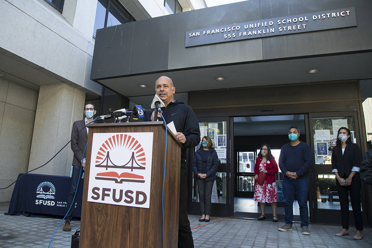 Mark Sanchez, president of the SF Board of Education, speaks at a news conference condemning recent targeted social media attacks on fellow commissioners. (Kevin N. Hume/S.F. Examiner)